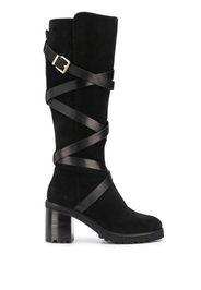buckled chunky-heel boots