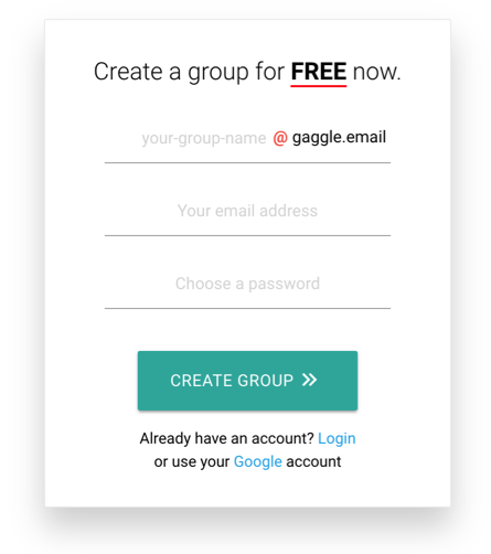 Creating a new group from the Gaggle Mail homepage