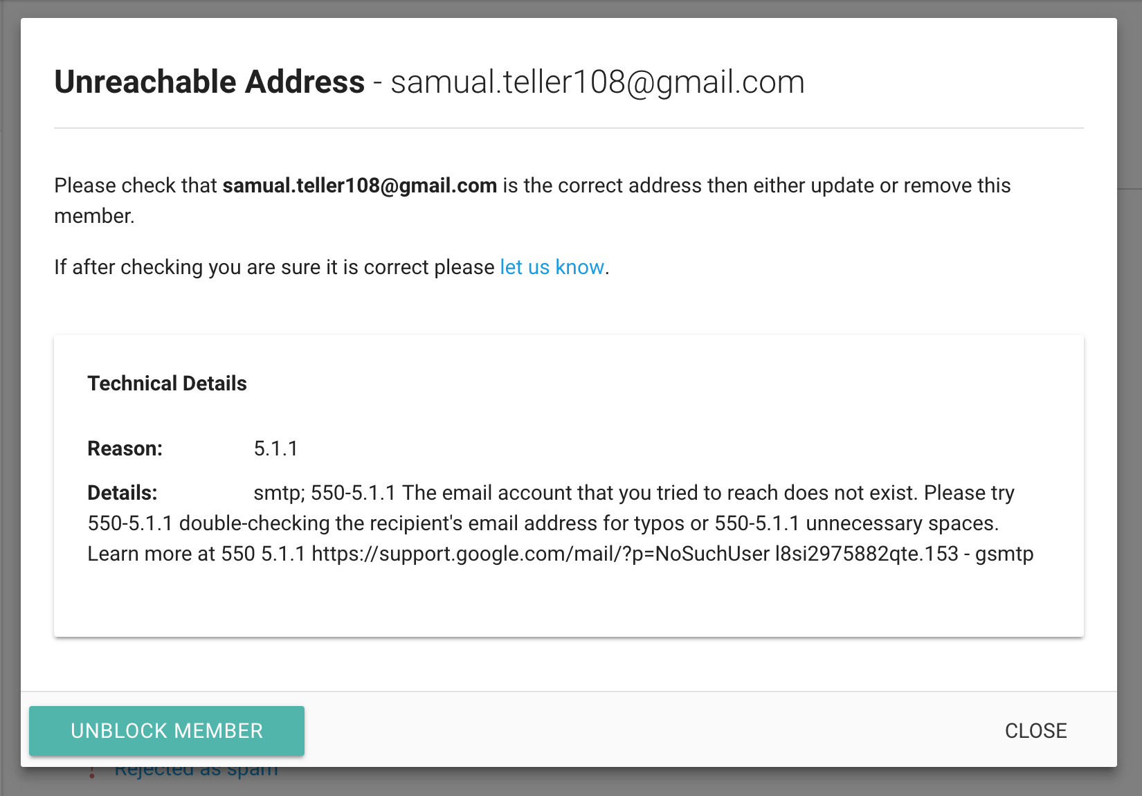 Delivery Failure Notifications | Gaggle Mail
