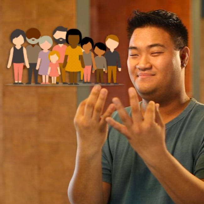 Man signing family in sign language