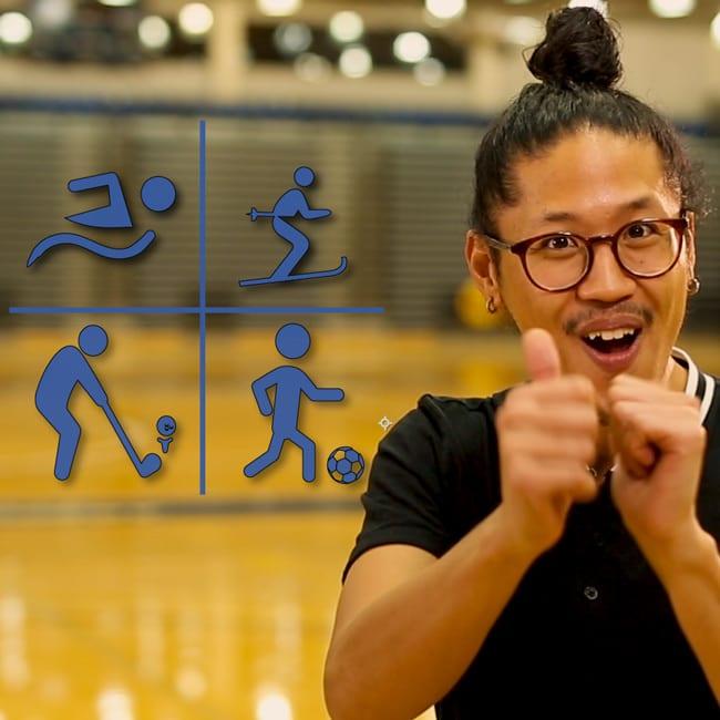 Man signing sports in sign language