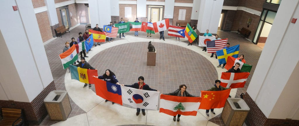 Students with country flags