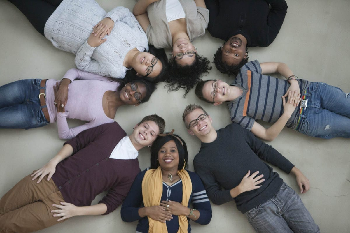 Group of eight diverse students