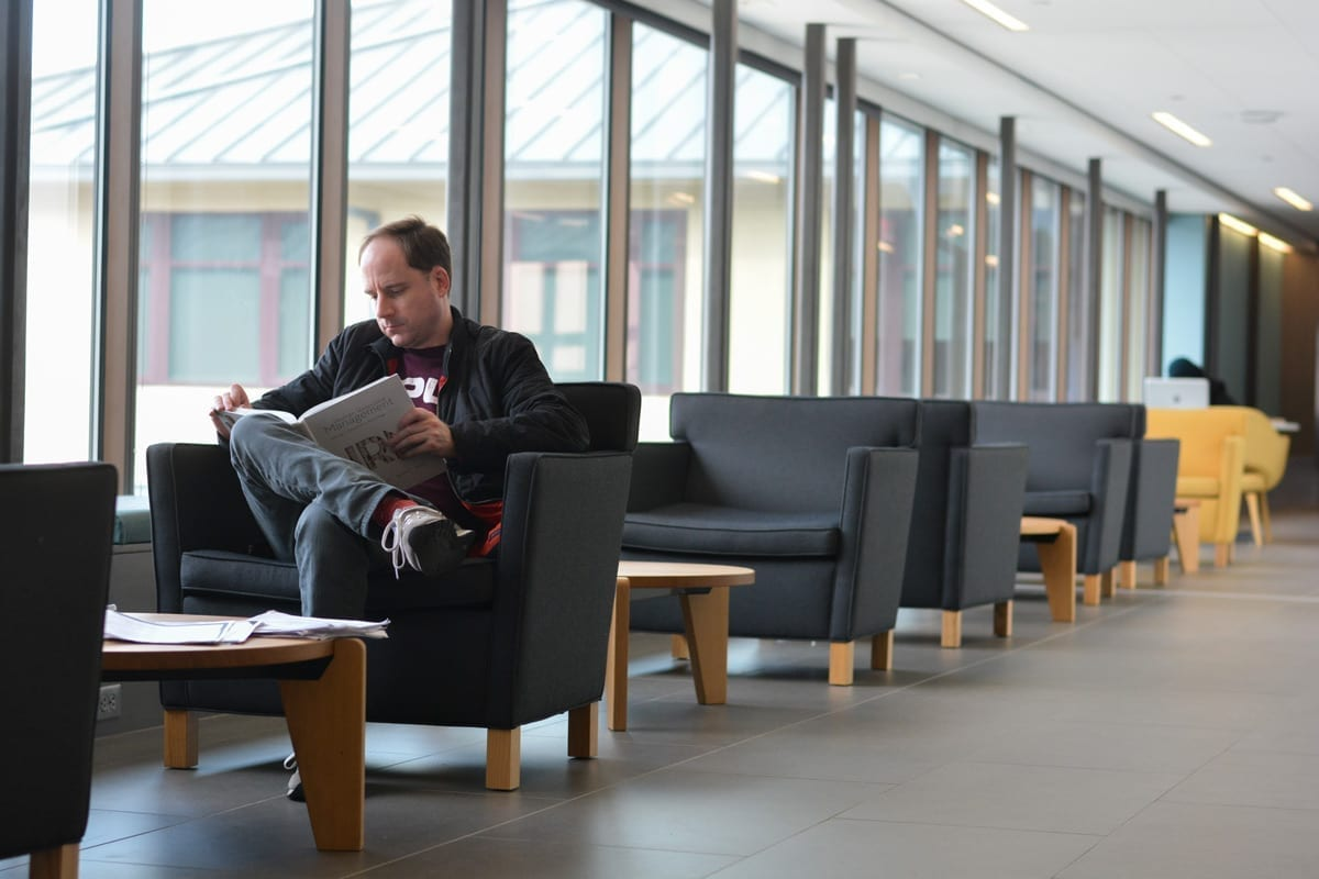 Person reading on the library
