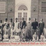 Students and teachers in front of Jenkins Hall on ASD campus in 1932