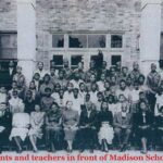 Students and teachers in front of Madison School 1950
