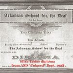 """Eliza Taylor diploma from ASD """"Colored"""" Dept. 1928"""