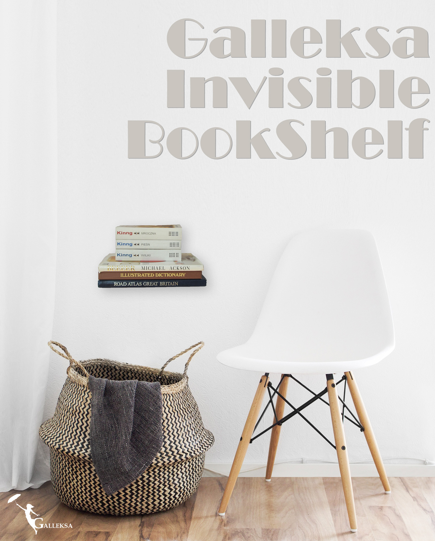 invisible concealed floating metal bookshelf wall mounted storage