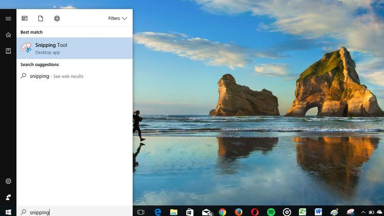 Take a screenshot using Snipping Tool on Windows 10 step 1