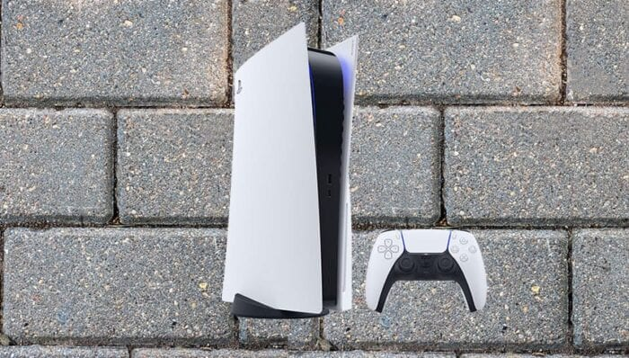 PS5 console on a brick background 16-year-old reseller