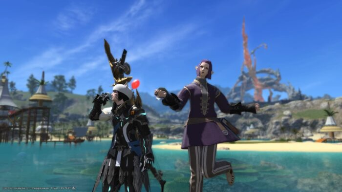 2 characters from Final Fantasy XIV posing in Costa Del Soul