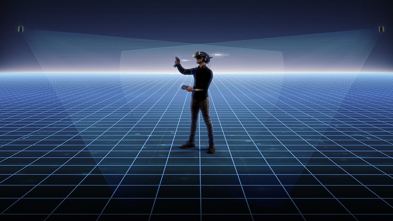 a man in a virtual environment wearing the headset