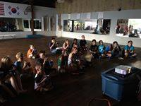 Karate Kids enjoying a family Movie and Pizza night celebrating the end of school