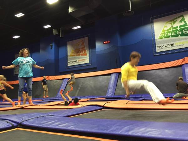 Tang Soo Do Students enjoying a family night out jumping on trampolines