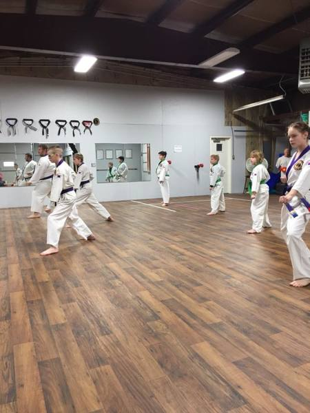 Moving forward and performing low blocks for practice of self defense