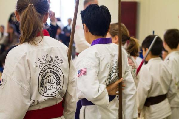 Tang Soo Do students of Traditional Karate Club of Cascade waiting to perform before the judges