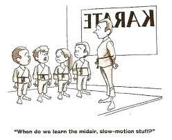 Kids Karate class asking when they can learn the midair slow-motion karate skills