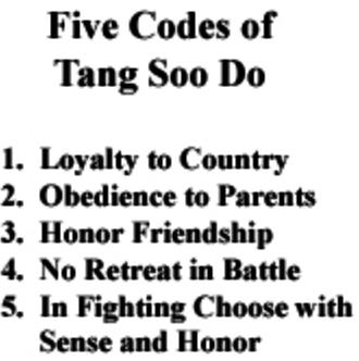 5 codes of Tang Soo Do
