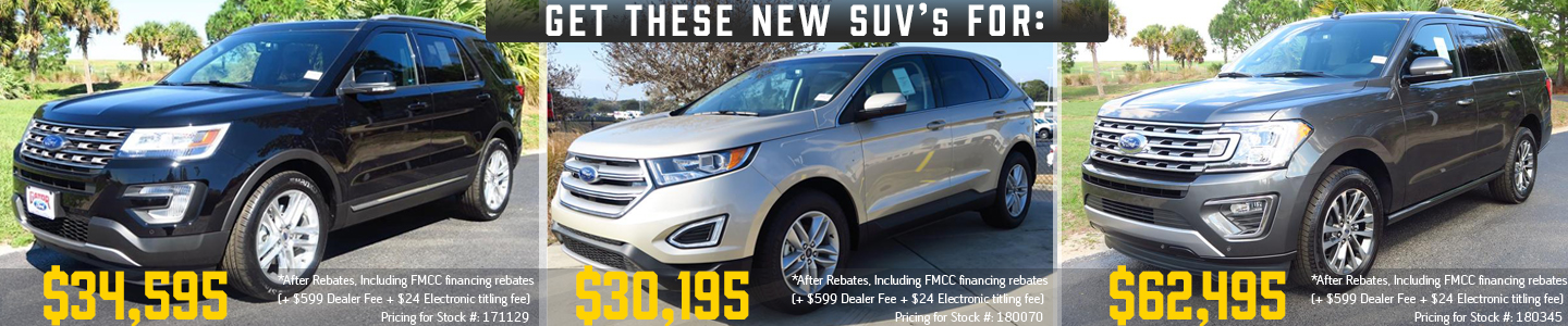 2018 SUVs group of 3 with pricing explorer, edge, expedition