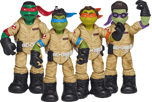 Leonardo as Stantz, Raphael as Zeddemore, Michelangelo as Venkman and Donatello as Spengler