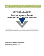 Данъчен контрол Видове производства Ревизии и проверки