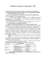 Бизнес план на Загорка АД