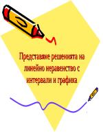 Представяне решенията на линейно неравенство с интервали и графика