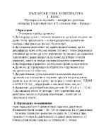 Bългарски език и литература I клас