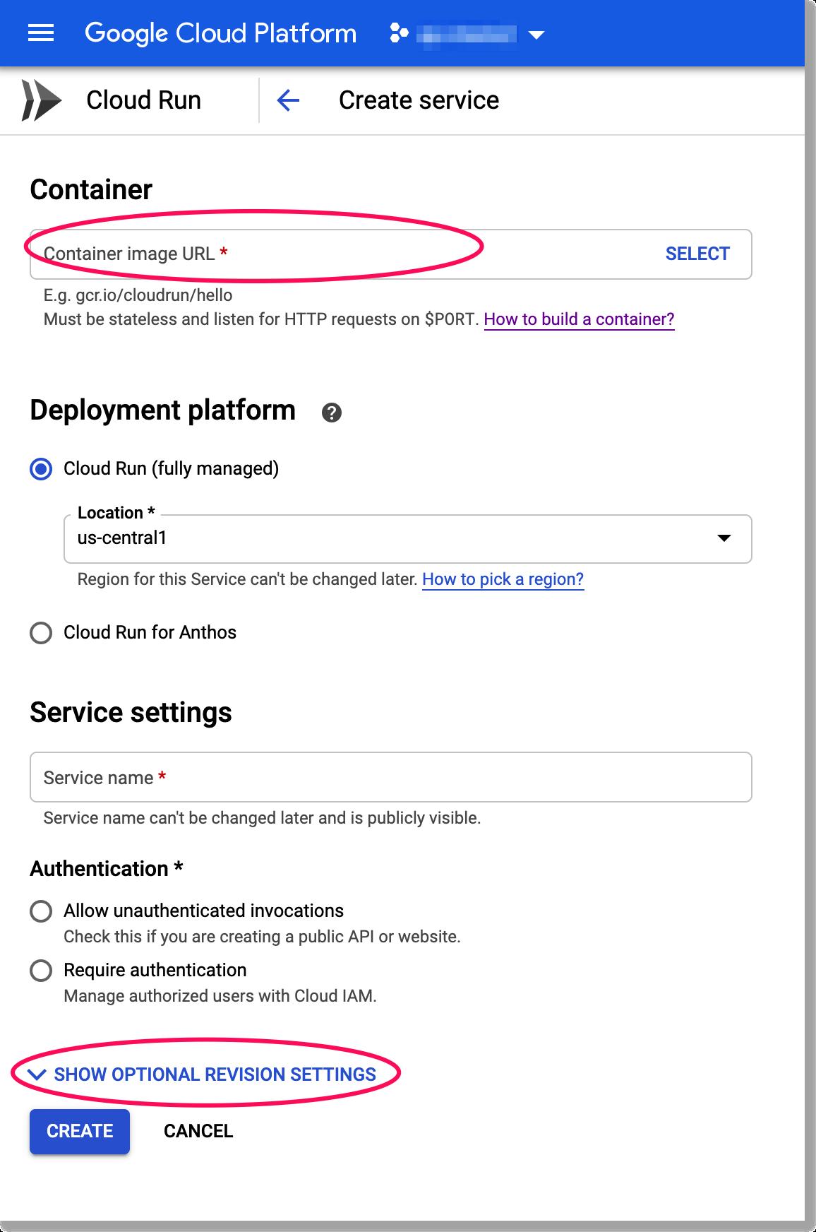 Creating a Cloud Run Service