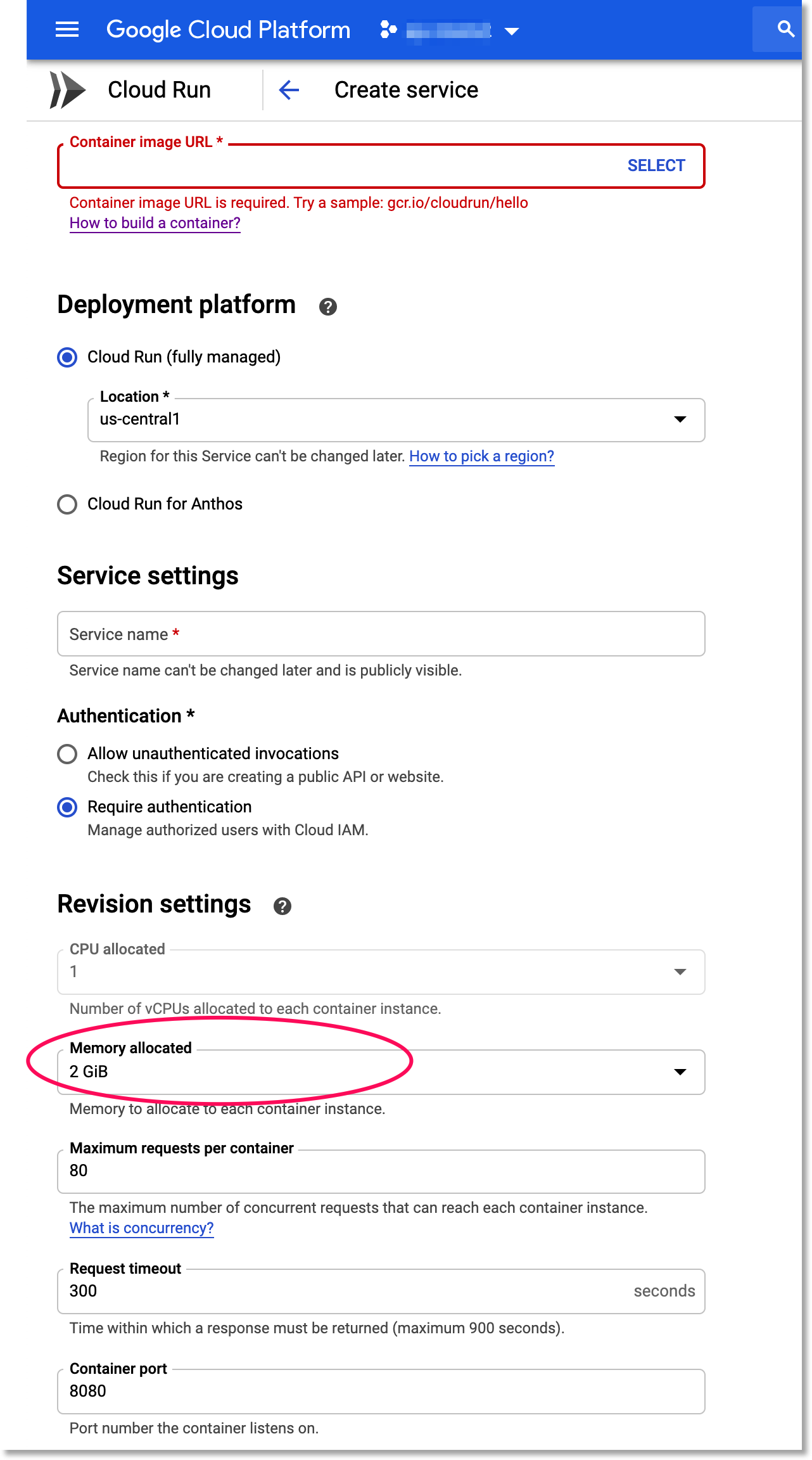 Set service instances to use 2GiB of memory