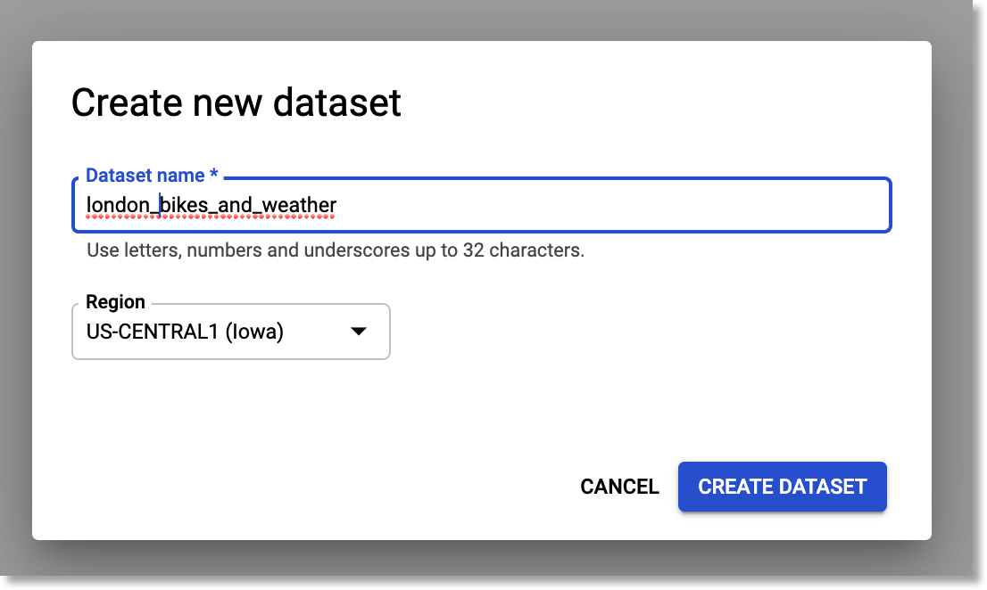 Create a new Tables dataset