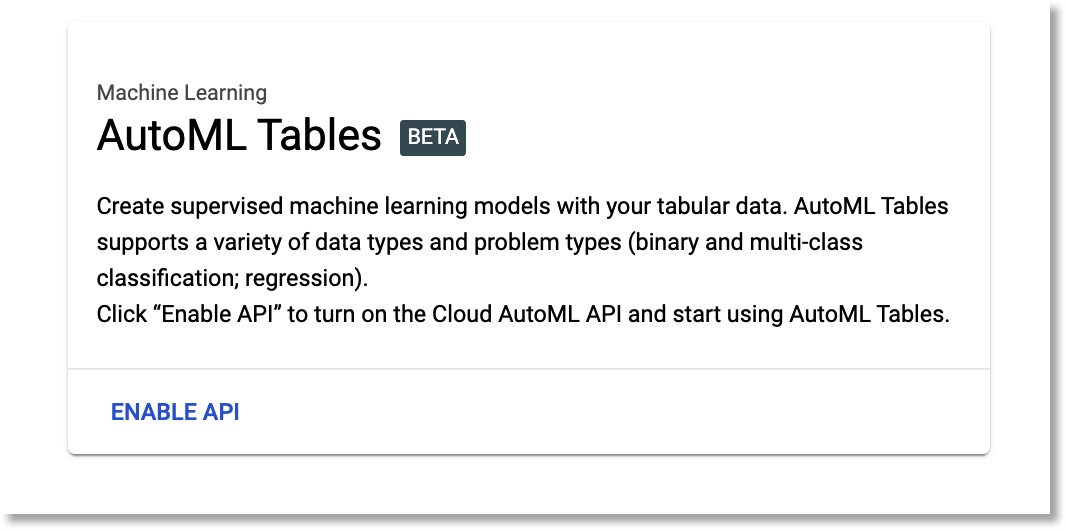 Enable the AutoML Tables API