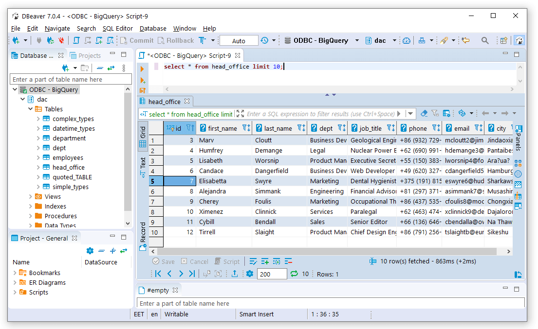 Running query in DBeaver Community