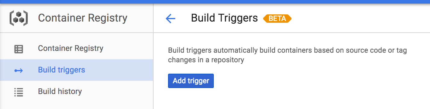 Add build trigger on Container Registry section