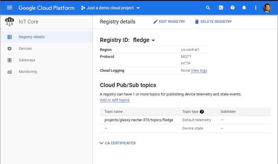 Cloud IoT Registry details