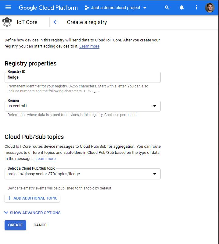 Create registry form