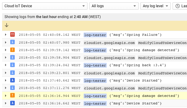 Using Stackdriver Logging with IoT Core devices | Using