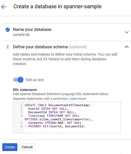 Spanner: Create Database