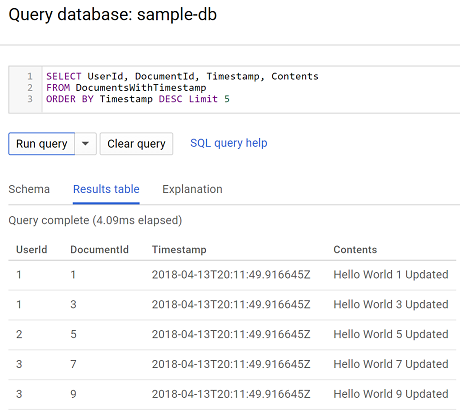 Spanner Query Documents Table