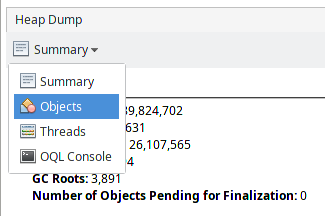 Select Objects in the drop-down