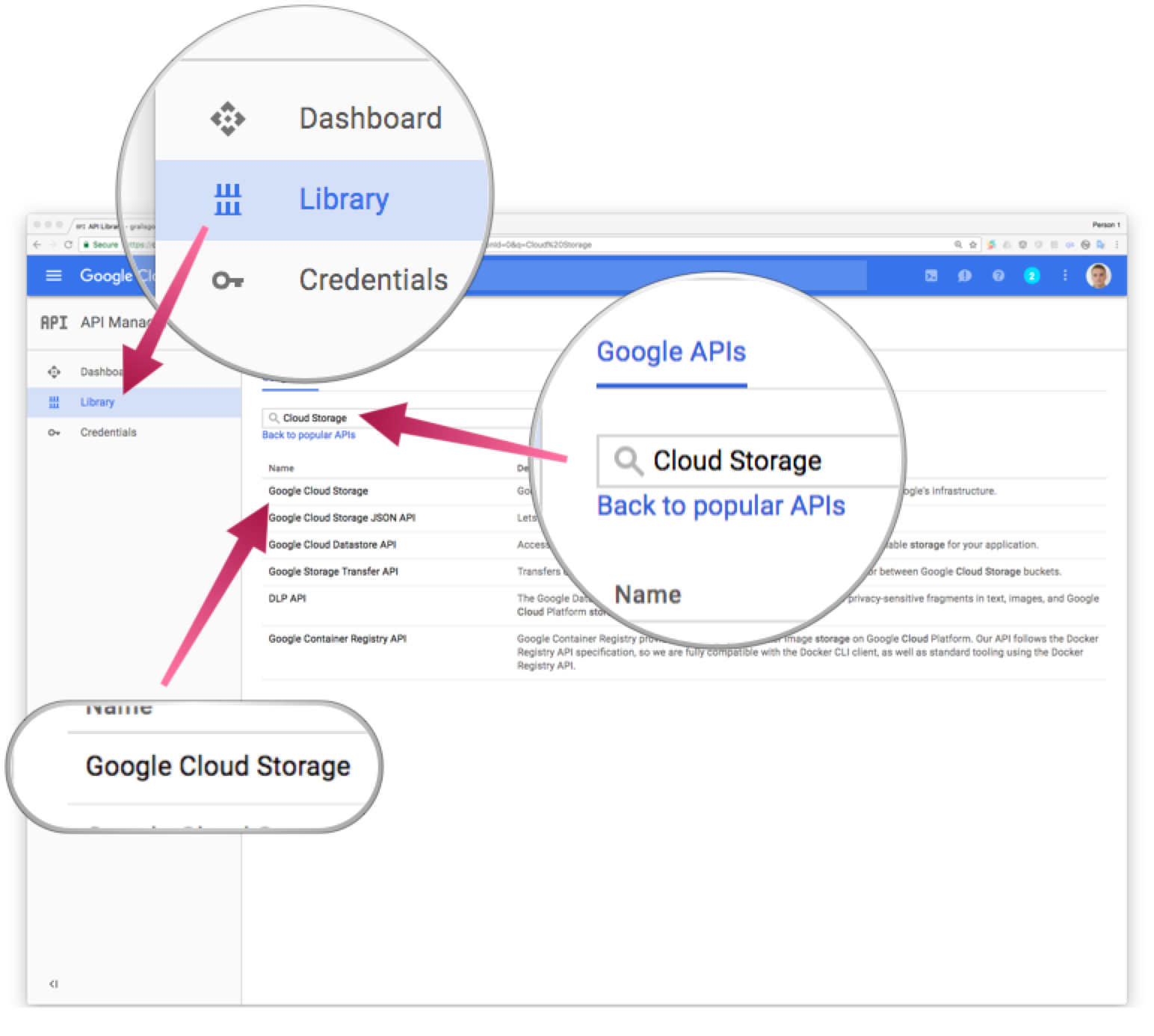 Screenshot showing how to search for Cloud Storage