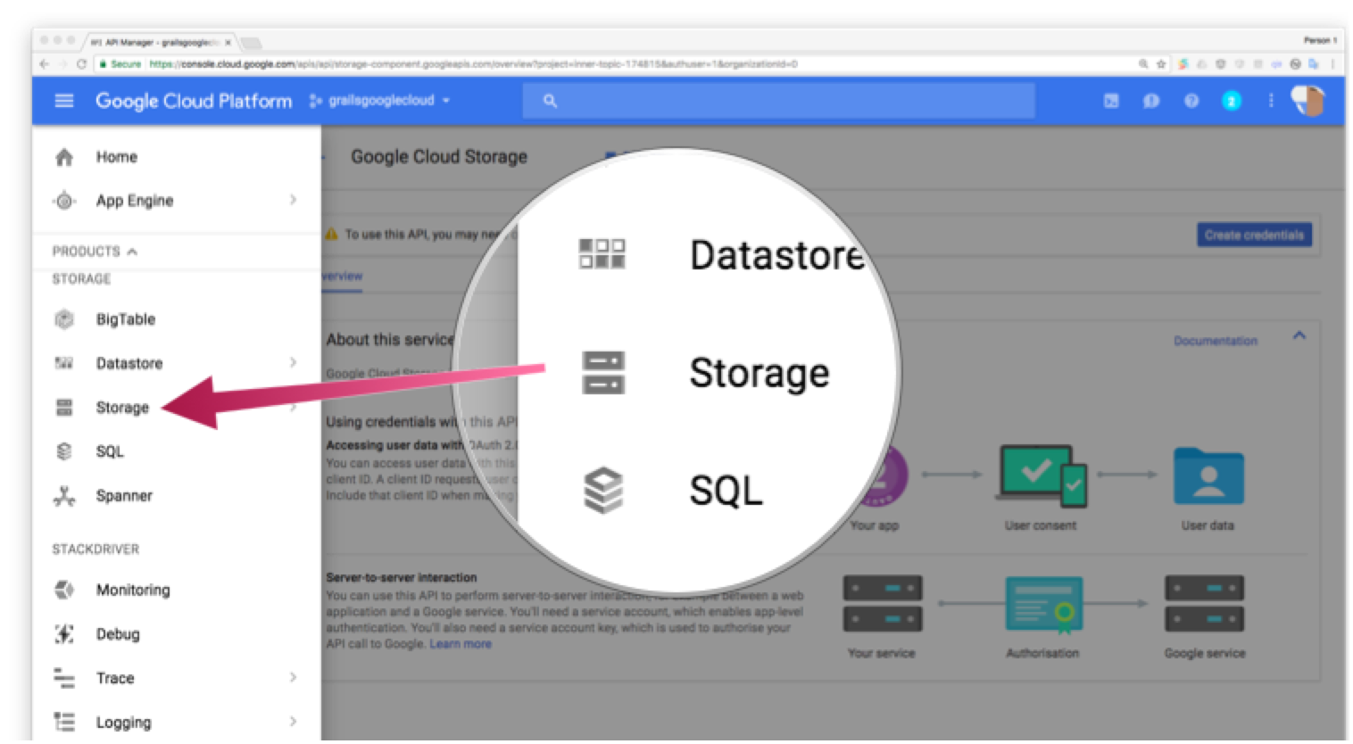 Screenshot showing the Storage menu