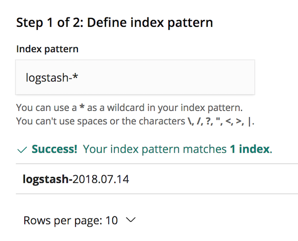 Configure logstash index pattern