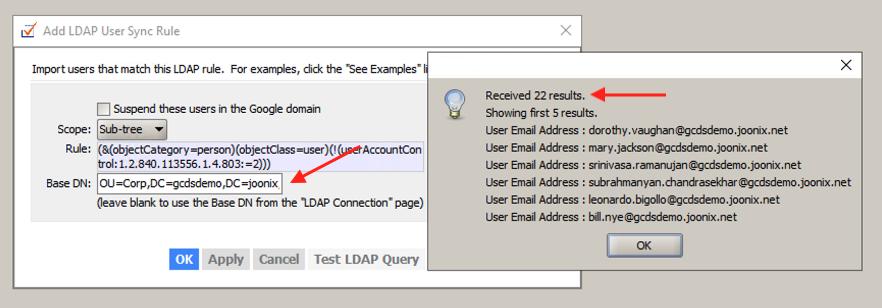 GCDS users BaseDN screenshot