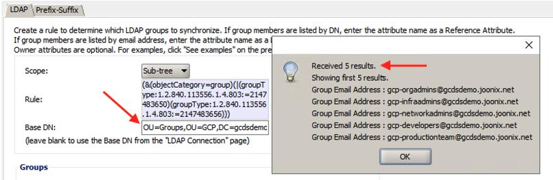 GCDS groups Base DN screenshot