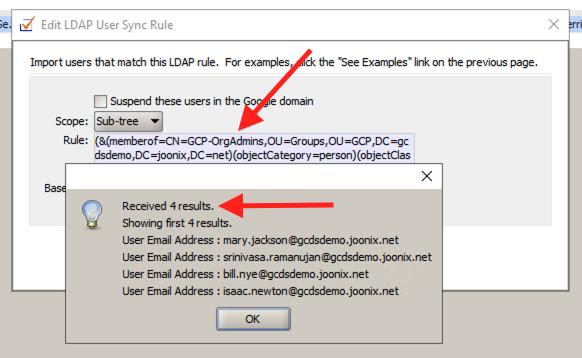 GCDS users memberOf screenshot