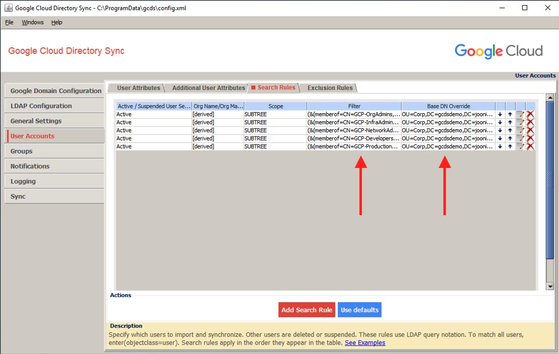 GCDS users search rule memberOf screenshot