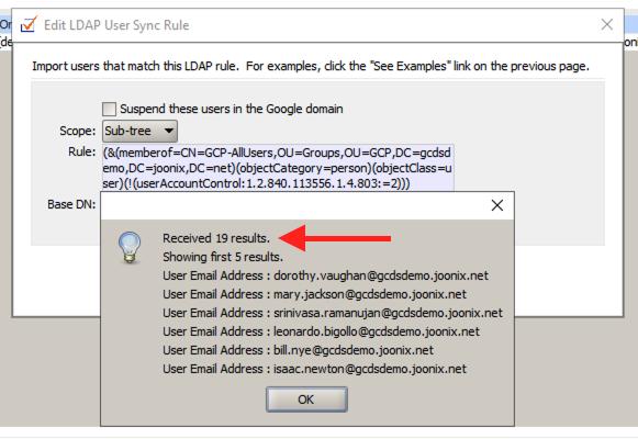 GCDS users all users memberOf results screenshot