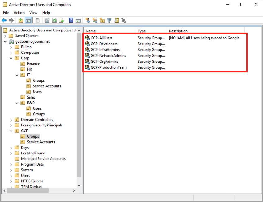 AD GCP Groups screenshot
