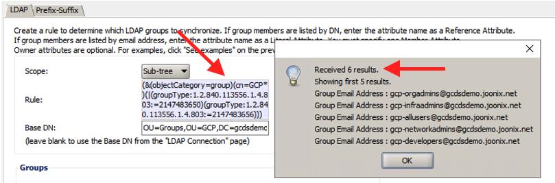 GCDS groups GCP screenshot